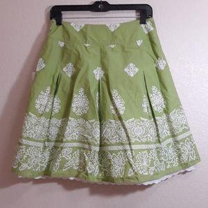 Talbots Petites Layered Green White Lace Skirt 6